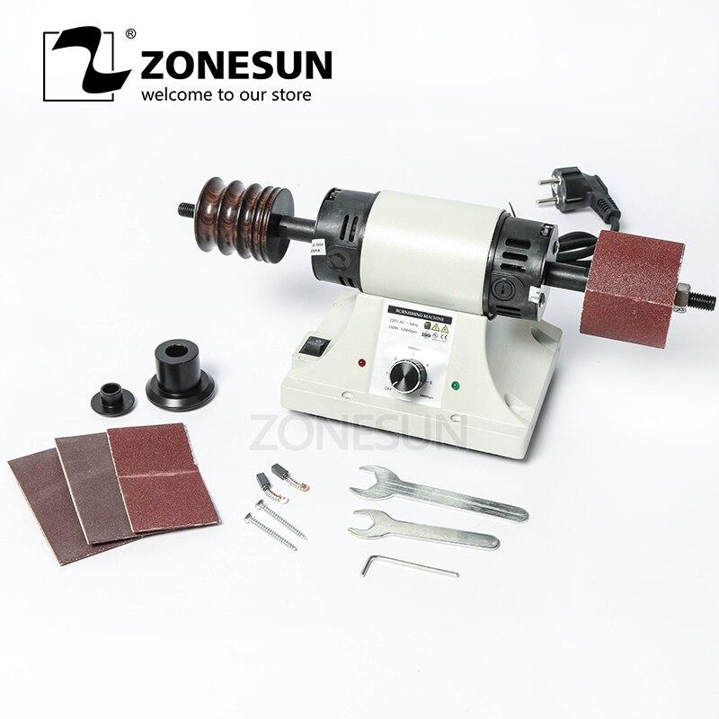 ZONESUN Vegetable Tanned Leather Burnishing Machine Mini Desktop Leather Edge Grinding Machine Polishing Tool Side Polisher