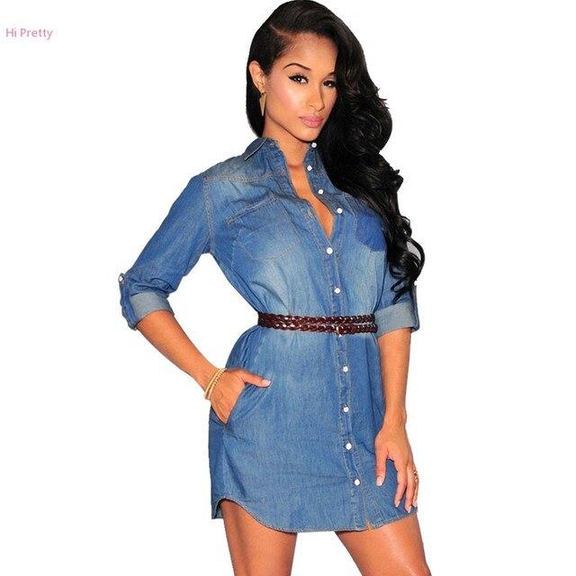 US $19.58 |Women Casual Medium Sleeve Turndown Collar Denim Dress Solid  Slim Leisure Jean Dress Plus Size Blue-in Dresses from Women\'s Clothing on  ...