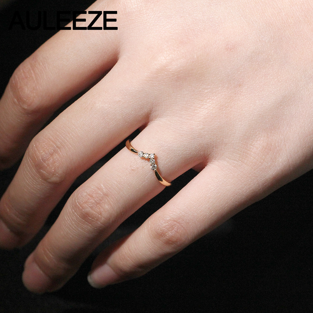 AULEEZE 18K AU750 Solid Yellow Gold Real Natural Diamond Wedding ...