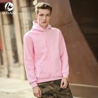 HZIJUE 2017 XXL Hoodie Streetwear Hip Hop Khaki Black Gray Pink White Hooded Hoody Mens Hoodies