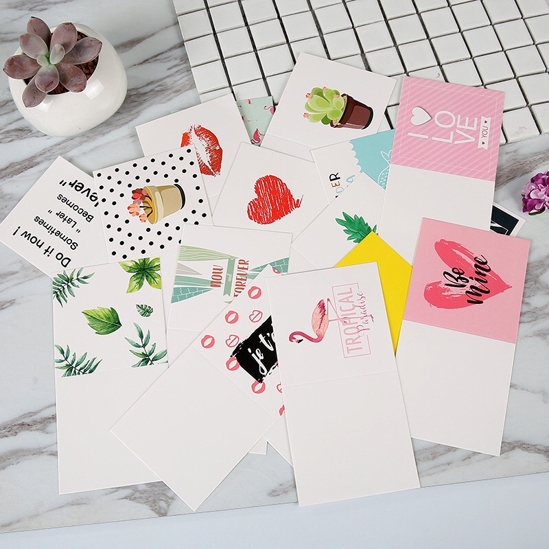 32pcs/lot Ins Style Flamingo Love Heart Kraft Paper Greeting Postcards Wishes Envelope/DIY Festival Cards Gift Stationery