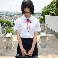Japanese School Uniform JK Short Sleeve O Neck Shirt Japan Orthodoxy Shirt Black Uniform Skirt Collar