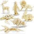 3D Деревянные Животных DIY Головоломки Игрушки Сборка Вызов Образовательные Игрушки Ручной Работы для Детей Дети Взрослых