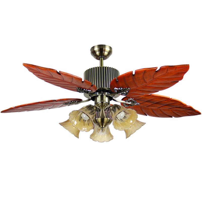 52 Inch Tropical Ceiling Fan With Sunset Bowl Light Five Hand Carved Wooden Leaf Blades Lindenwood Bwood Bronze