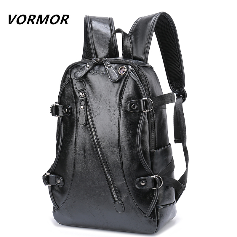 VORMOR High Quality Practical PU Leather Mens Backpack Famous Brand Casual Men Laptop Backpack Black School Travel Backpack famous brand school backpack the avengers captain america iron man fashionable laptop backpacks high quality leather