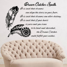 Personality text feather wall decal vinyl sticker dream catcher decoration boho art bedroom living room ZM07