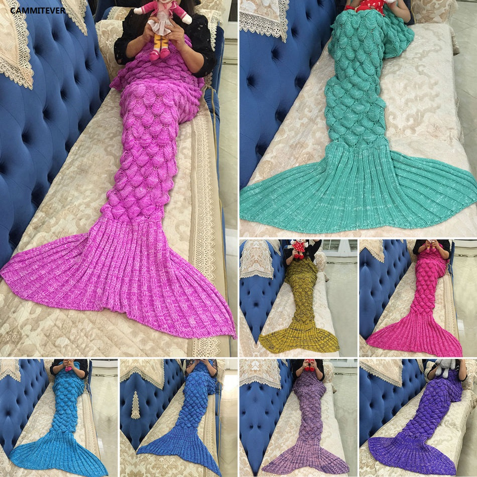 CAMMITEVER 17 Colors Mermaid Blanket Soft Mermaid Tail For Sofa Cover Adult Children Relax Sleeping Nap Colorful Blankets(China)