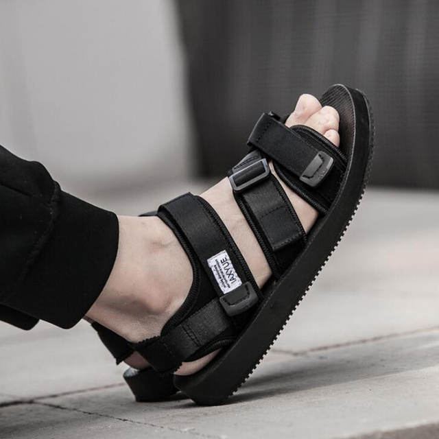 16b516486 Men sandals 2018 summer high quality men Black beach sandals fashion  hook&loop unisex men flat sandals size 37-43