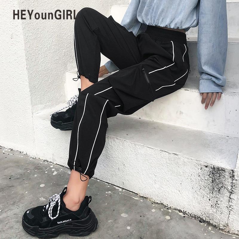 HEYounGIRL Harajuku Casual Black Cargo Pants Women Stripes Elastic High Waist Pants Capris Streetwear Korean Sweatpants Joggers