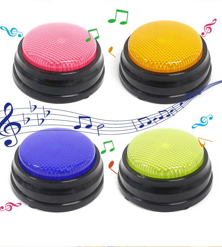 4 colores/set 20s Botón de conversación grabable con función Led, recursos de aprendizaje Buzzers de respuesta