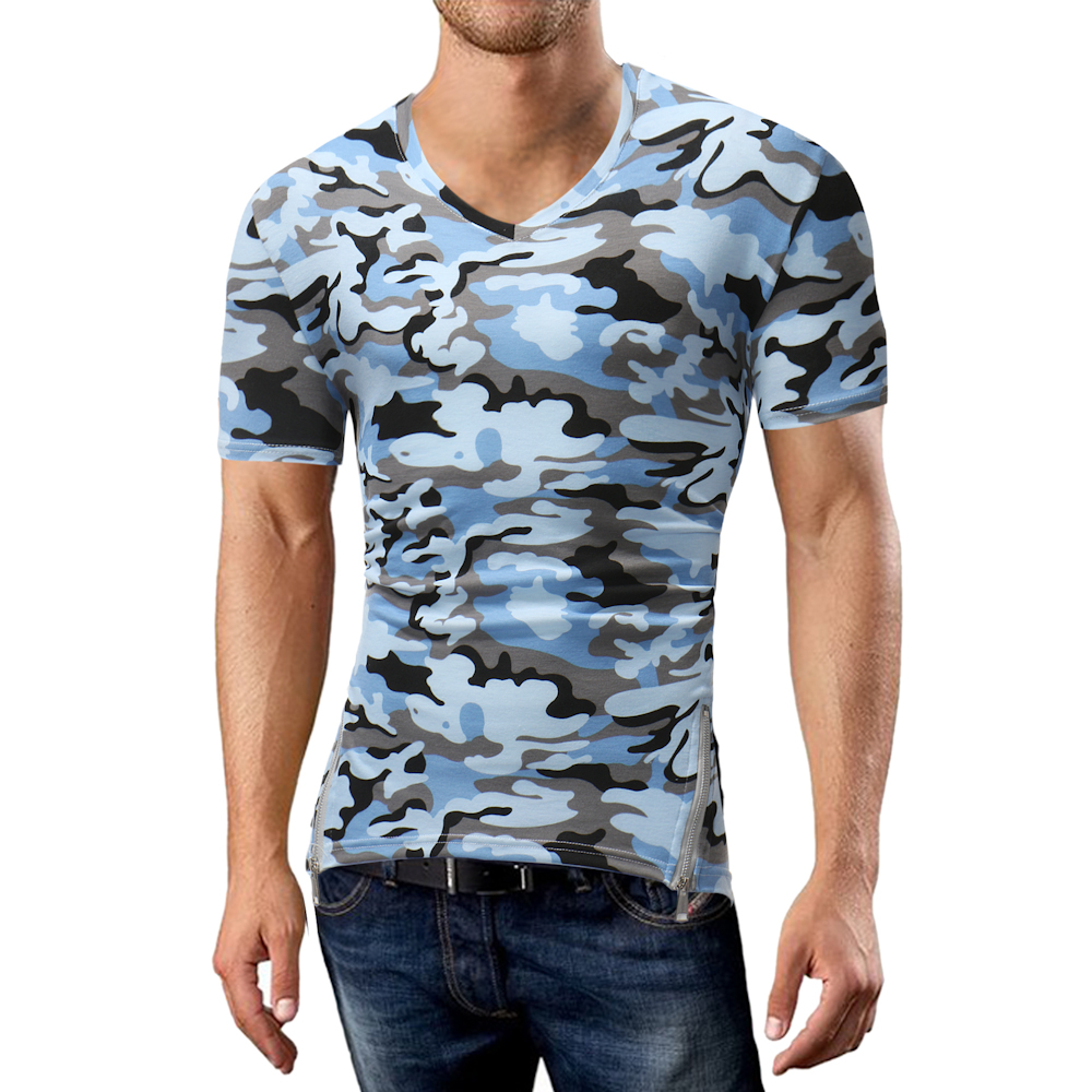 Phertiful 2018 New Fashion Brand Men Clothes Short Sleeve Camouflage Slim Fit T shirt Men Cotton T-shirt Casual T-shirts 5XL