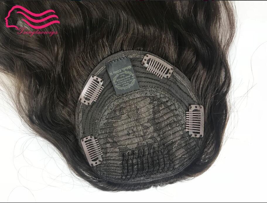 finest european virgin hair kosher kippah fall (machine made )  not wig  , unprocessed  jewish hair kippah fall   free shipping fishtail braid with hair accessory