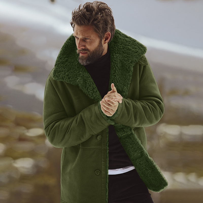 Cotton Warm Thick Long Sleeve Men Top Big Size Peacoat Windbreaker Mens Overcoat Male Blend Coat Casual Winter Snow Green Jacket