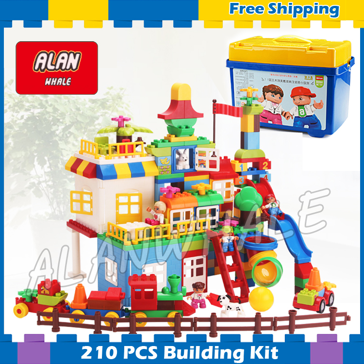 210pcs My First Castle Amusement Park Model Big Size Building Blocks Bricks Kids Gifts Sets Toys Compatible With Lego Duplo yard new large size inflatable slide and with area for kids to play bouncy castle amusement park