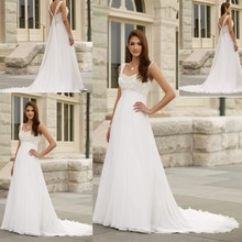 цена на Free Shipping Pregnant White Outdoor V-Neck with Applique Design Wedding Dress 2015 China Beach Bridal Gown For Women ZM245
