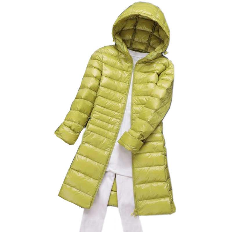 S ~ 6XL 2018 جديد الخريف الشتاء النساء بطة داونز سترة ضئيلة Parkas السيدات معطف طويل مقنعين زائد حجم فائقة ضوء ملابس خارجية SF038