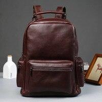 New Vintage Men Backpacks Crazy Horse Leather Male Korean Student Casual Backpack Large Boy Business Laptop School Computer Bag
