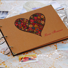 2016 New Heart 10 Inch DIY Photo Album by Hand to Commemorate Baby Wedding Photo Albums Paste lovers Family Memory 10 Pages