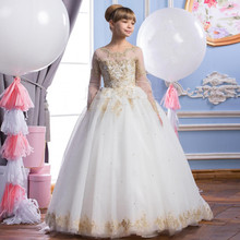 2016 Tulle Appliques Beaded Flower Girl Dresses For Wedding Long Sleeve A-Line Girl Birthday Party Dress Long Pageant Dress