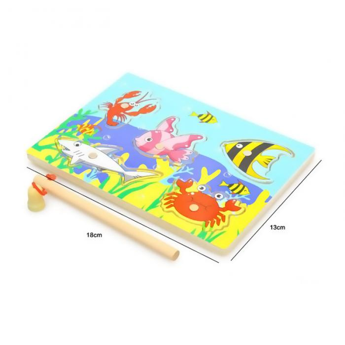 New Wooden Magnetic 3D Jigsaw Children Educational Fishing Puzzles Baby Toys Wooden Funny Game Toy For Kids Baby Gifts BM88 7