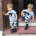 New Baby Infant Kids Boy Girls Clothes Set Cute Bear Print Outfit Short Sleeve T-shirt+Pants 2Pcs Spring Summer Outfit Suit 0-4Y