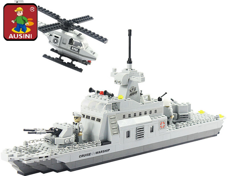 AUSINI 22702 Military series Cruise Warship Building Blocks Set Kids Assembled Model DIY Educational Bricks Toys For Children ninjago juguetes military series armed helicopter blocks decool plastic diy educational bricks building model toys for children