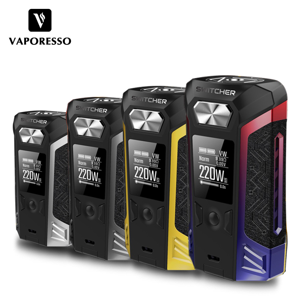 Original Vaporesso Switcher TC Box Mod 220W Electronic Cigarette Vape Box Mod for NRG Tank Atomizer 510 Thread RDTA RDA RTA Tank цены