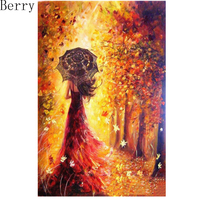5D DIY Diamond Painting Beautiful Women Autumn Landscape 3D Full Square ResinDiamond Embroidery Cross Stitch Painting