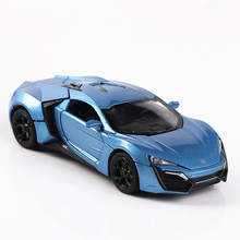 1:32 Lycan sports car Sound and light belt pull-back vehicle simulation alloy car model crafts decoration collection toy tools dark lycan