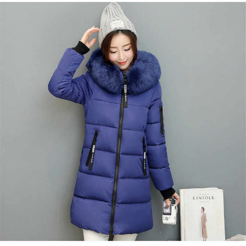 71035c297 Women Winter 2019 Outerwear Coats Female Long Casual Fur Hooded Warm Down  puffer jacket Winter Female Overcoat Women Coat