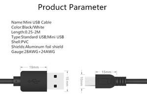 Image 2 - Cáp Mini USB 0.25 M 0.5 M 1 M 1.5 M 2 M Đồng Bộ Dữ Liệu Dây Cáp Sạc USB Cho MP3 MP4 Người Chơi GPS Camera Điện Thoại Di Động Mini USB