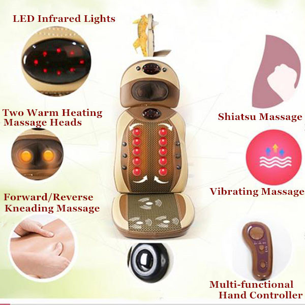 3D Electric Kneading Neck Shoulder Back Massager Vibra Cervical Malaxation Shiatsu Massage Chair electric massage pillow infrared heating kneading cervical neck shoulder auto shiatsu massager car use massage