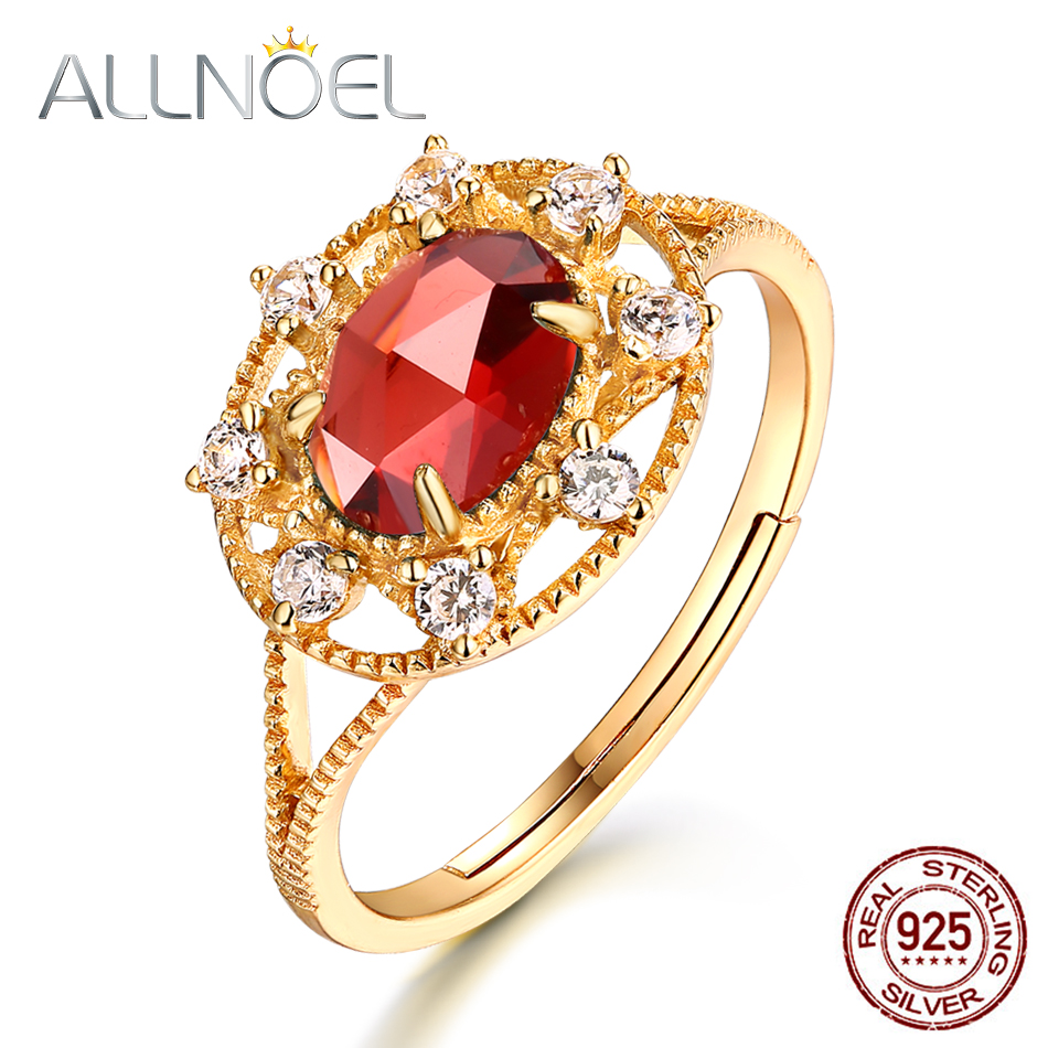 ALLNOEL Genuine 925 Sterling Silver Garnet Rings For Women Gold Plated Smart Rings With Red Stone Engagement Finger Ring New