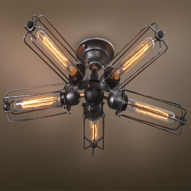Unique Vintage Industrial Barn Metal Fans Cage Ceiling Lamp Flush Mount  XR56
