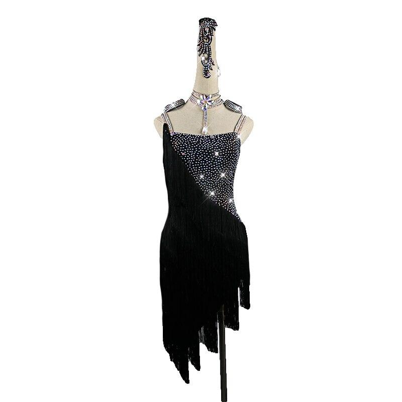 Concours Latin danse robe salle de bal danse pratique vêtements Sexy noir dos nu épaule frange robes Salsa Samba Costume