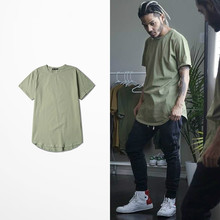 2016 S/S Men Extended Kanye West T-shirt Cotton Swag Mens T Shirts Skateboard Tshirt Solid Hip Hop T Shirt Men's Tees Tops Kpop