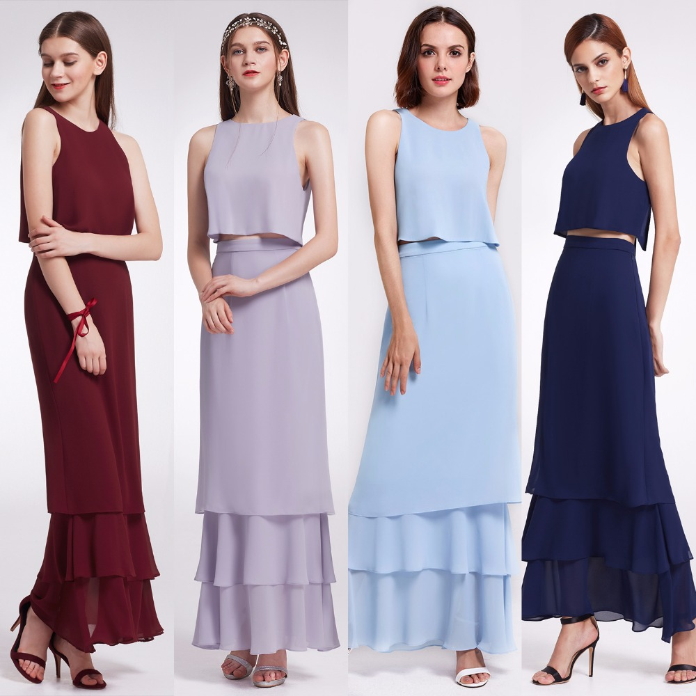 Bridesmaid Dresses Ever Pretty Two piece Dress Crop top Shift Split Back Dress  Layered Skirt Design EP07173-in Bridesmaid Dresses from Weddings & Events    1