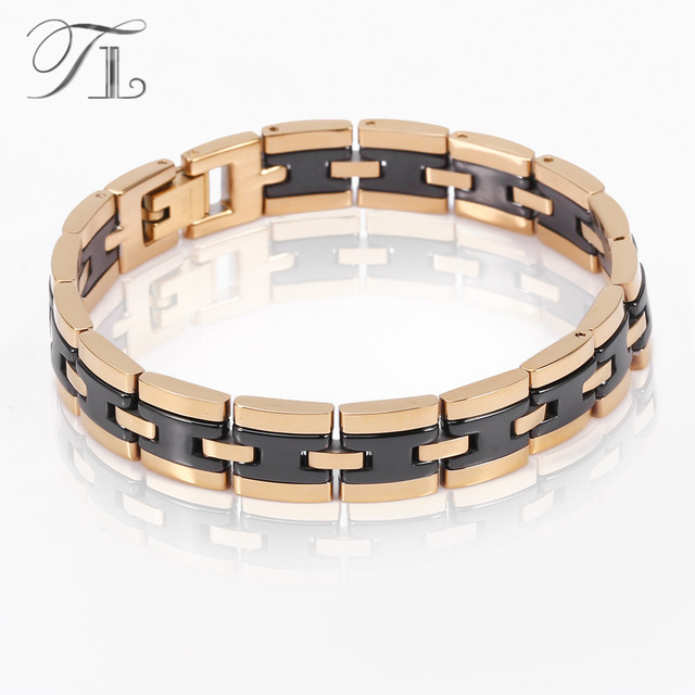 Tl Stainless Steel Bangles Bracelets Solid Gold Silver Plated Black Ceramic Business Style Men