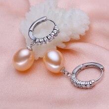 Eternal wedding Women Gift word 925 Sterling silver real [beautiful] natural freshwater pearl pearl drop earrings earrings silve