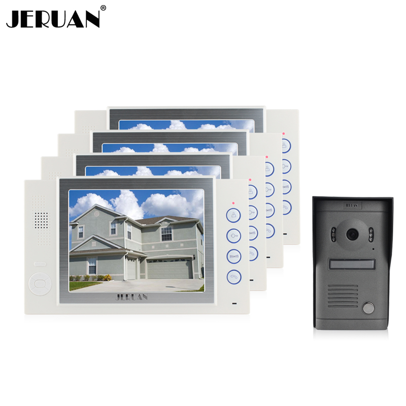 цены  JERUAN 8 inch video doorphone doorbell doorphone intercom system video door phone speaker intercom recording rain cover