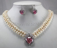 Wholesale free shipping >>>>>2 row 7 8mm white pearl & heart pink zircon pendant necklace earring set