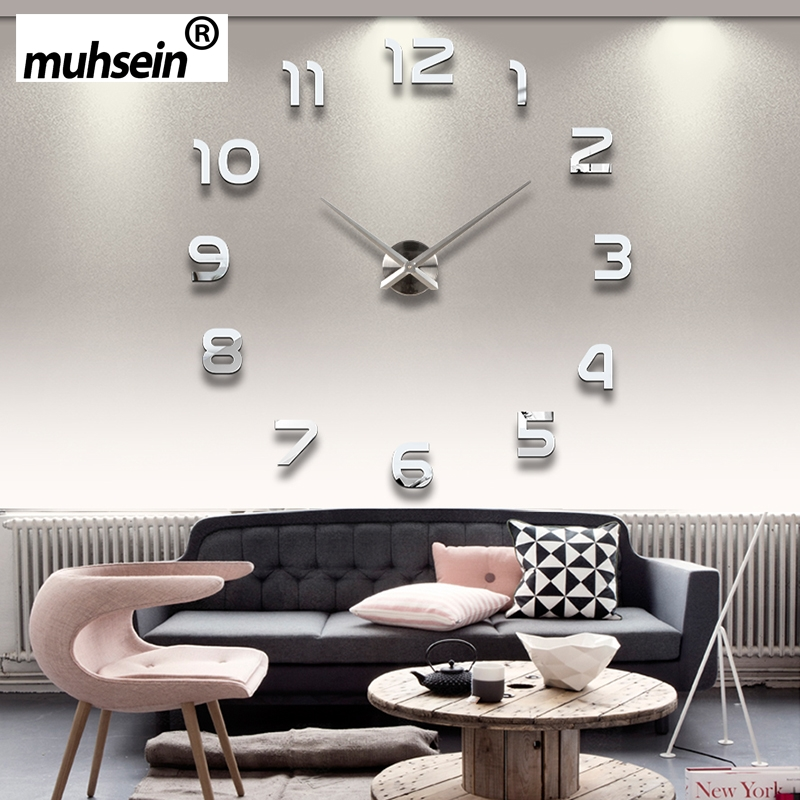 2019 New Metall Moderne 3D DIY Wall Clock Acrylic + EVR + Metal Mirror Home Decoration Super Big 130cm x130 cm Factory Freeshipping