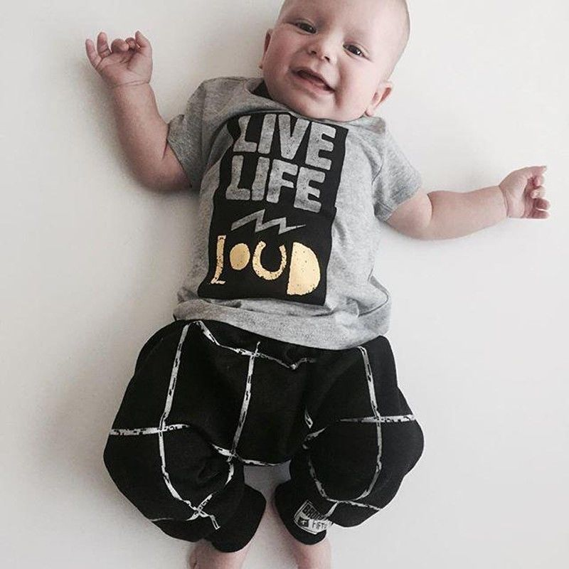 2016 Fashion Baby Clothing Baby Boy Clothes Short T Shirt Long Pants