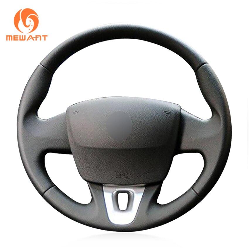 цена на MEWANT Black Artificial Leather Steering Wheel Cover for Renault Fluence Fluence ZE 2009-2016 Kangoo 2013-2016 Scenic 2010-2015