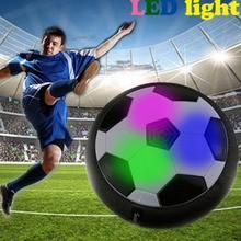 HOT Vicces LED Fény Villogó Érkezés Air Power Labdarúgás Ball Disc Beltéri Labdarúgás Játék Multi-surface Hovering Gliding Toy Y0151
