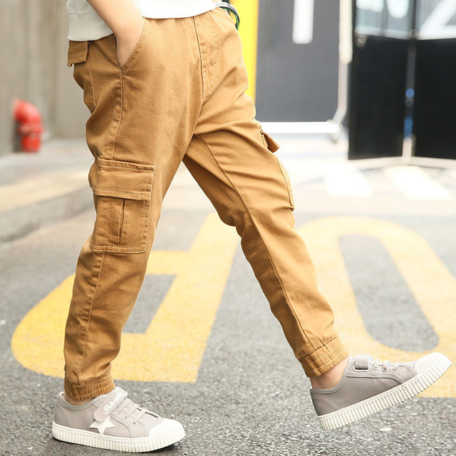 8a50002d4 Spring Autumn Kids Cargo Pants Boy Loose Casual Boys Trousers Children  Elastic Waist Pure Cotton Pants 5 7 9 11 13 Years