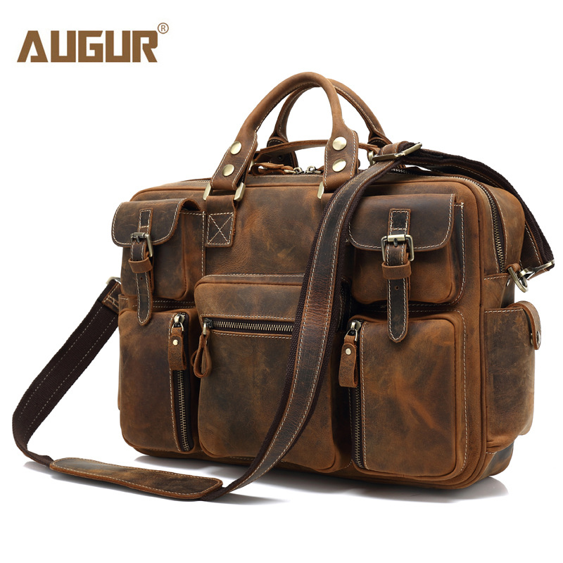 AUGUR Men Buiniess Travel Shoulder Bags Brand Crazy Horse Men Handbags Retro Genuine Leather High Quality Bag