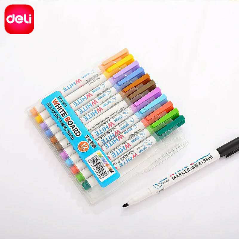 Deli Erasable Whiteboard Marker Pens 12 Pcs Assorted Colors Value Set Office Dry Erase Markers Office Supplies For Glass Windows