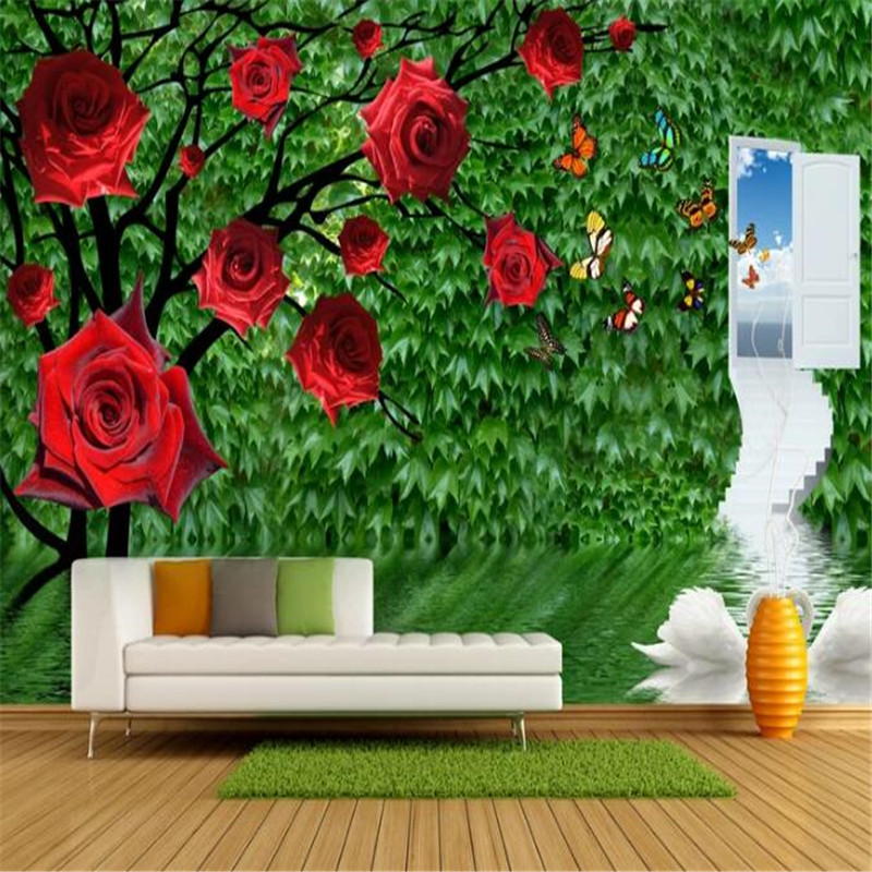 Personality Custom Wallpapers 3D Stereoscopic Rose Photo Wall Murals Green Leaf Wallpaper Wall Papers for Living Room Home Decor shinehome maple leaf floral golden wallpaper for 3d rooms walls wallpapers for 3 d living room wall paper murals mural roll