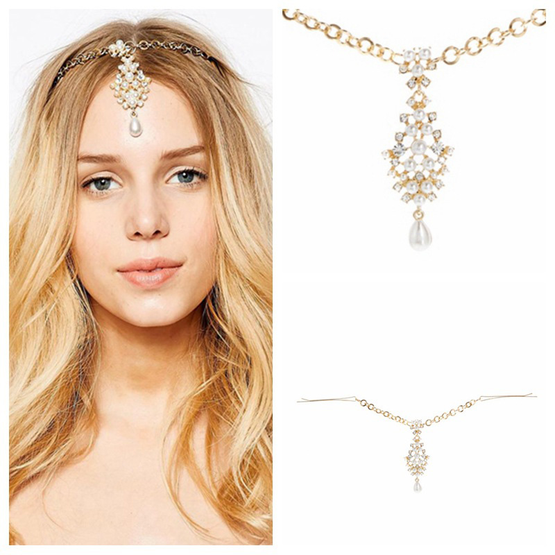 HHYDE Indian Gold Color Hair Accessories Crystal Simulated Pearl Drop Forehead Jewelry Women Girls Wedding Bridal Hairpins